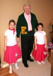 Gramps and his 'dates' for the Brownie sock hop, 2008