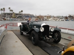 Ed Gehringer with his wife Marge in his Bentley crossing Newport Bay.
