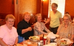 Doris Fegely Trumbauer, Joyce Keim, Judy Oels Lorah, Zona Cope Farmer and Carol Keim Kuhns are having a good time remeni